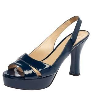 Prada Blue Patent Leather Platform Slingback Sandals Size 40