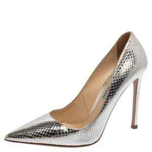 Prada Metallic Silver Python Embossed Leather Pointed Toe Pumps Size 36.5