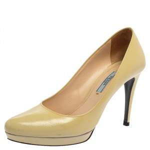 Prada Cream Leather Pointed Toe Platform Pumps Size 38