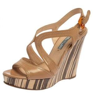 Prada Beige Patent Leather Wooden Wedge Sandals Size 38