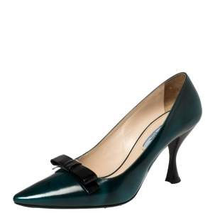 Prada Dark Green  Leather Bow Pointed Toe Pumps Size 39