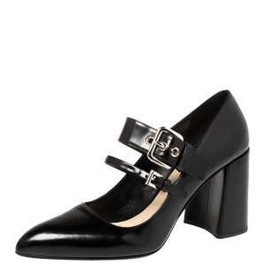 Prada Black Leather Mary Jane Oversize Buckle Pointed Toe Pumps Size 39.5