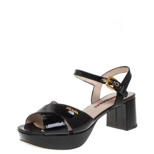 Prada Black Patent Leather Crisscross Ankle Strap Sandals Size 36.5