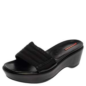 Prada Black Canvas and Patent Leather Wedge Slide Sandals Size 38