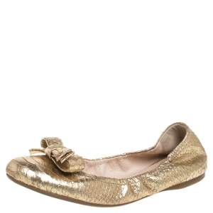 Prada Gold Python Embossed Leather Scrunch Bow Ballet Flats Size 41