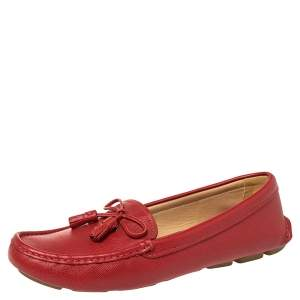 Prada Red Saffiano Leather Bow Detail Loafers Size 38