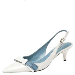 Prada White Leather Bow Pointed Toe Slingback Sandals Size 37