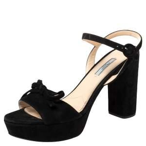 Prada Black Suede Bow Ankle Strap Platform Sandals Size 41