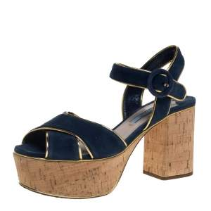 Prada Blue/Gold Suede And Leather Platform Sandals Size 36.5