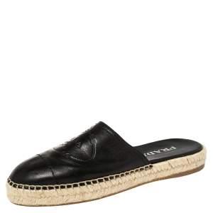 Prada Black Leather Logo Embossed Espadrille Flat Slides Size 37