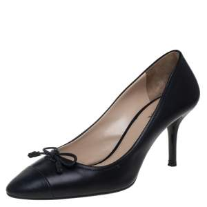 Prada Black Leather Bow Accented Pumps Size 40