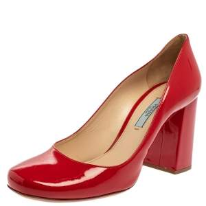 Prada Red Patent Square Toe Block Heel Pumps  Size 38
