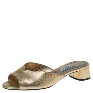 Prada Metallic Gold Saffiano Leather Flat Slides Size 38.5