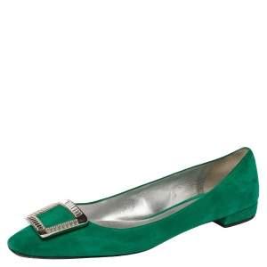 Prada Green Suede Embellished Ballet Flats Size 39.5
