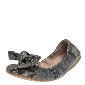 Prada Multicolor Snakeskin Embossed Leather Bow Ballet Flats 38