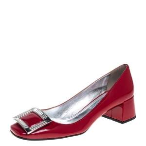 Prada Red Patent Leather Buckle Detail Pumps Size 38