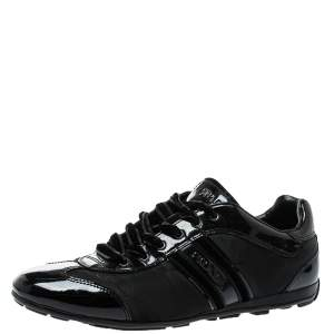 Prada Black Patent Leather And Nylon Low Top  Sneakers Size 39