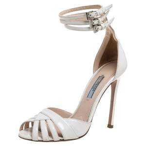 Prada Off White Patent Leather  Strappy Sandals Size 36