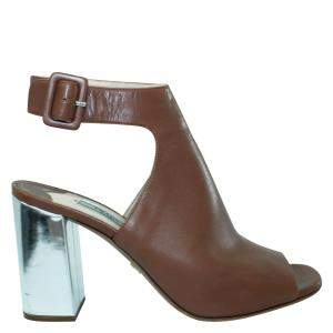 Prada Brown Leather Block Heels EU 38