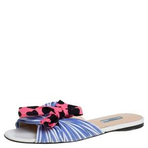 Prada Blue/Pink Fabric Polka Dot Bow Detail Slide Sandals Size 41