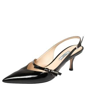 Prada Black Patent Leather Bow Slingback Sandals Size 40