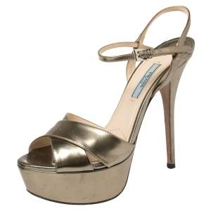 Prada Gold Patent Leather Platform Ankle Strap Sandals Size 37