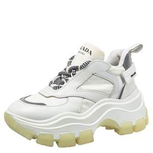 Prada White Leather And Nylon Pegasus Lace Up Sneakers Size 36