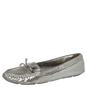 Prada Silver Python Embossed Leather Bow Slip On Loafers Size 39