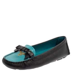 حذاء لوفرز برادا فيونكة جلد سافيانو أزرق / أسود مقاس 36.5
