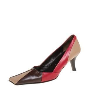 حذاء كعب عالي برادا مقدمة مربعة جلد ثلاثي اللون مقاس 36.5