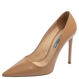 Prada Beige Patent Leather Saffiano Pointed Toe Pumps Size 39