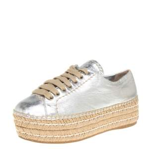 Prada Metallic Silver Leather Platform Espadrille Sneakers Size 35