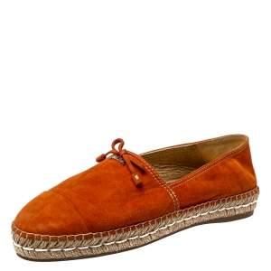 Prada Orange Suede Bow Detail Espadrilles Flats Size 40