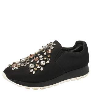 Prada Black Canvas Crystal Embellished Slip On Sneakers Size 38