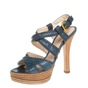 Prada Blue And Tan Leather Stitch Detail Cross Strap Platform Sandals Size 36