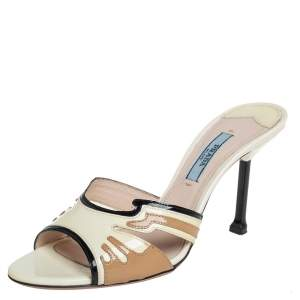 Prada Tricolor Patent Leather Slide Sandals Size 36