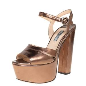 Prada Metallic Brown Patent Leather Ankle Strap Block Heel Platform Sandals Size 37.5