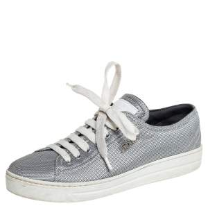 Prada Silver Fabric Low Top Sneakers Size 36