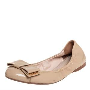 Prada Beige Patent Leather Bow Ballet Flats Size 37.5