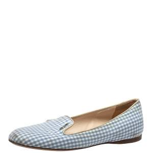 Prada Blue/White Canvas Smoking Loafers Size 37