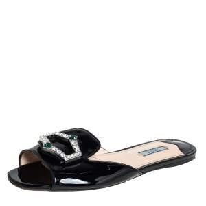 Prada Black Patent Leather Crystal Embellished Flat Slides Size 40.5