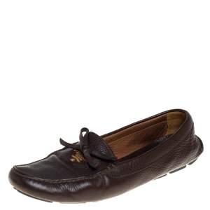 حذاء لوفرز برادا مزين فيونكة جلد بني مقاس 40
