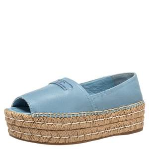 Prada Blue Leather Peep Toe Platform Espadrilles Size 36.5