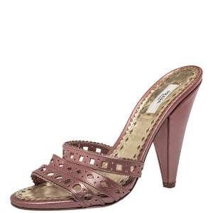 Prada Pink Leather Slide Sandals Size 38.5