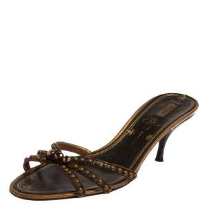 Prada Brown Leather Embellished Slip On Sandals Size 39