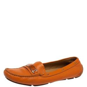 Prada Orange Leather Slip On Loafers Size 38.5
