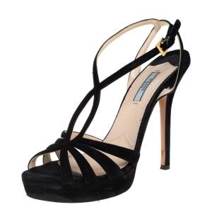 Prada Black Suede Strappy Sandals Size 39.5