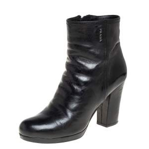 Prada Black Leather Block Heel Ankle Boots Size 38
