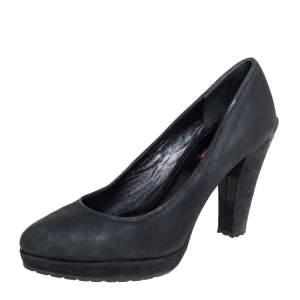 Prada Black Nubuck Platform Block Heel Pumps Size 38
