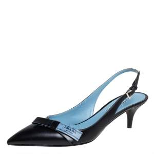 Prada Black Leather Bow Slingback Sandals Size 38.5